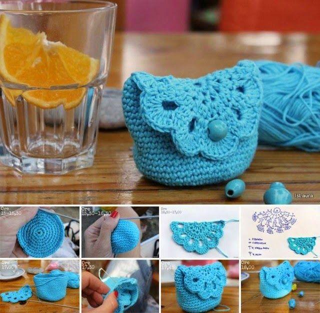 Bolsito de Crochet con medio Granny - Patrones Crochet | Crochet ...