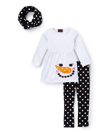 Loving this Black & White Polka Dot Snowman Tunic Set - Infant, Toddler & Girls on #zulily! #zulilyfinds