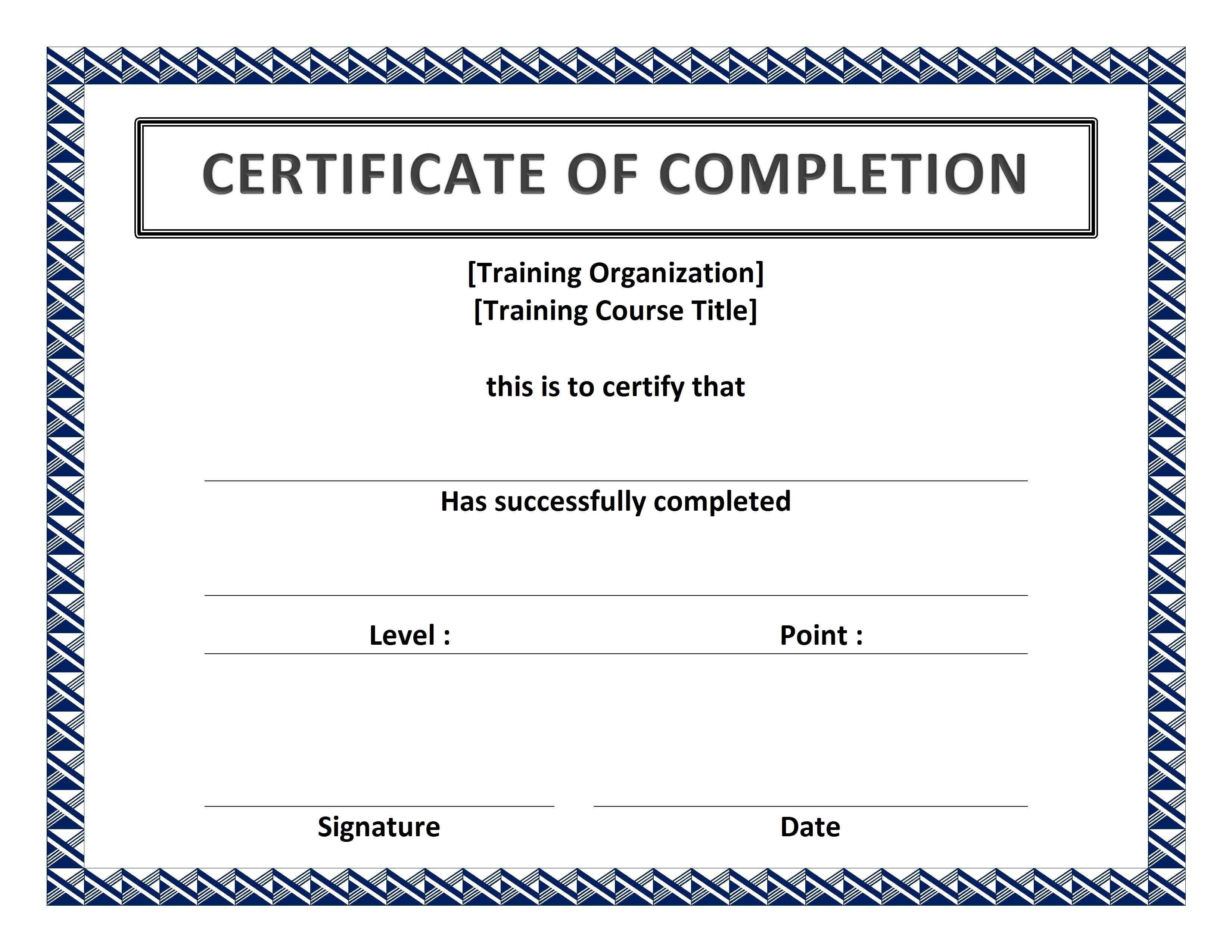 Free Printable Certificate To Printing Certificate Of Completion Template Free Certificate Templates Certificate Of Completion Certificate of completion free template