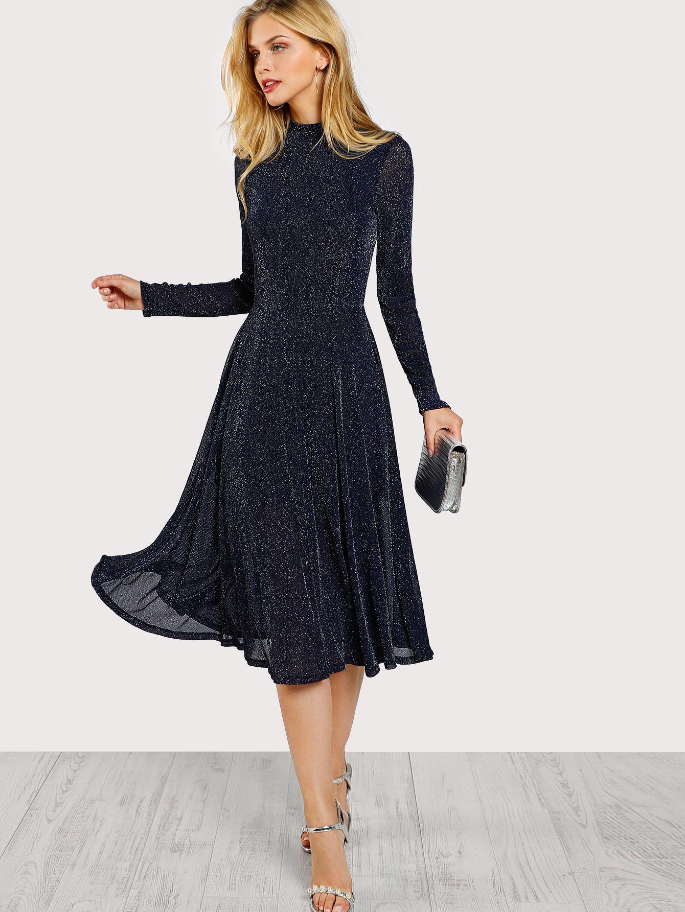 Mock neck glitter fit u flare dress fit flare dress dress online