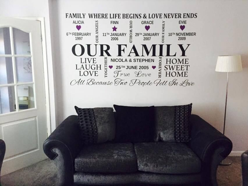 Our Family Personalized Vinyl Wall Sticker Wall Art Decal Vinyl Wall Decals Kitchen Vinyl Wall Stickers Decal Wall Art