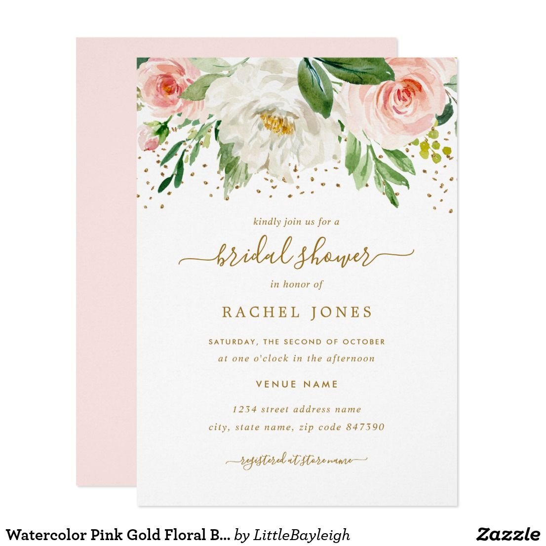 Watercolor Pink Gold Floral Bridal Shower Invitation Zazzle Com In 2020 Floral Wedding Invitations Blush Gold Wedding Invitations Floral Bridal Shower Invitations