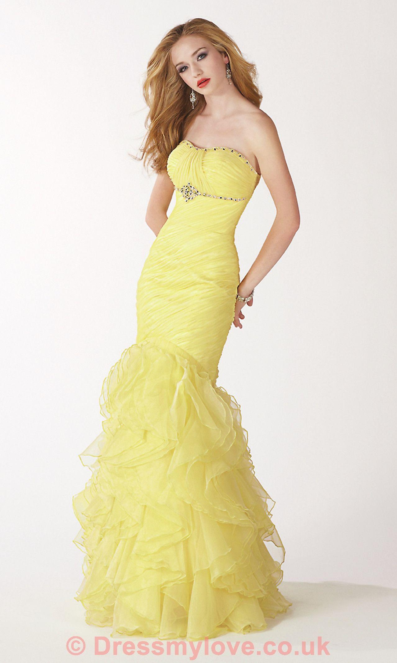 Strapless Light Yellow Pleated Mermaid Evening Dress ED095 ...