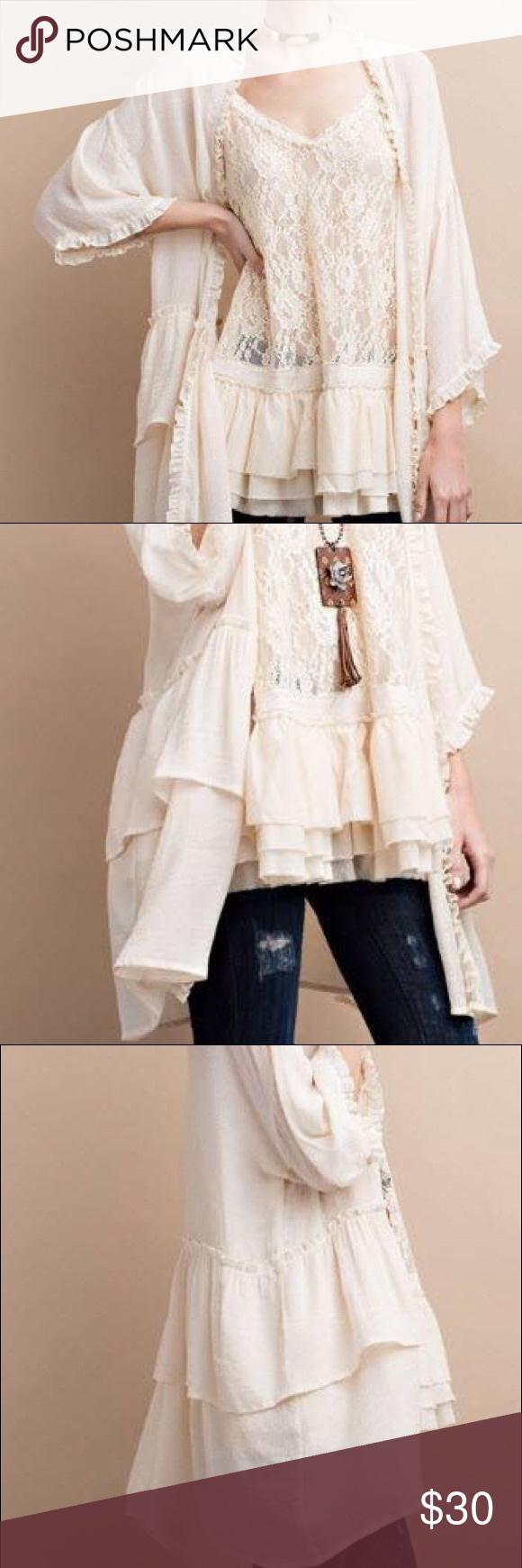 Selling this DOUBLE RUFFLED OPEN LONG CARDIGAN W/ RUFFLED CUFF on Poshmark! My username is: mfuller75. #shopmycloset #poshmark #fashion #shopping #style #forsale #EASEL #Sweaters