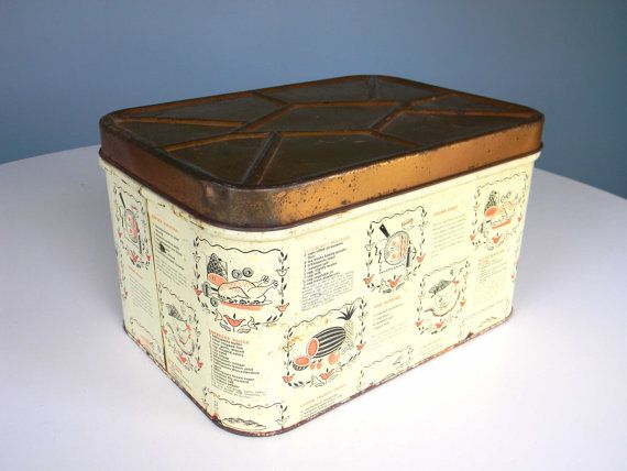 Vintage Bread Box Metal Storage Container Recipe Tin by MustyMusts, $21.00