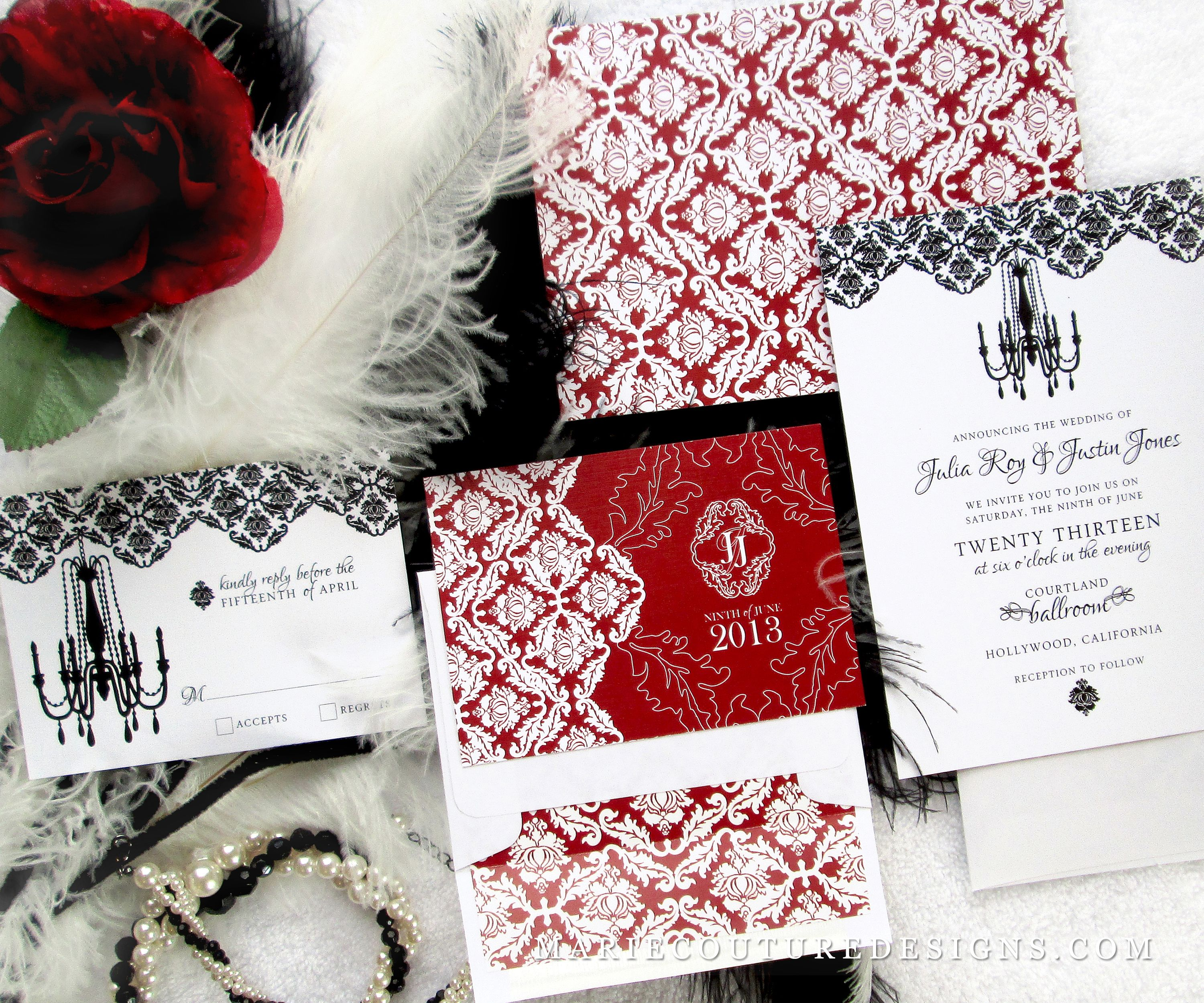 Old Hollywood Wedding Invitation - red , black , white , glamour ...