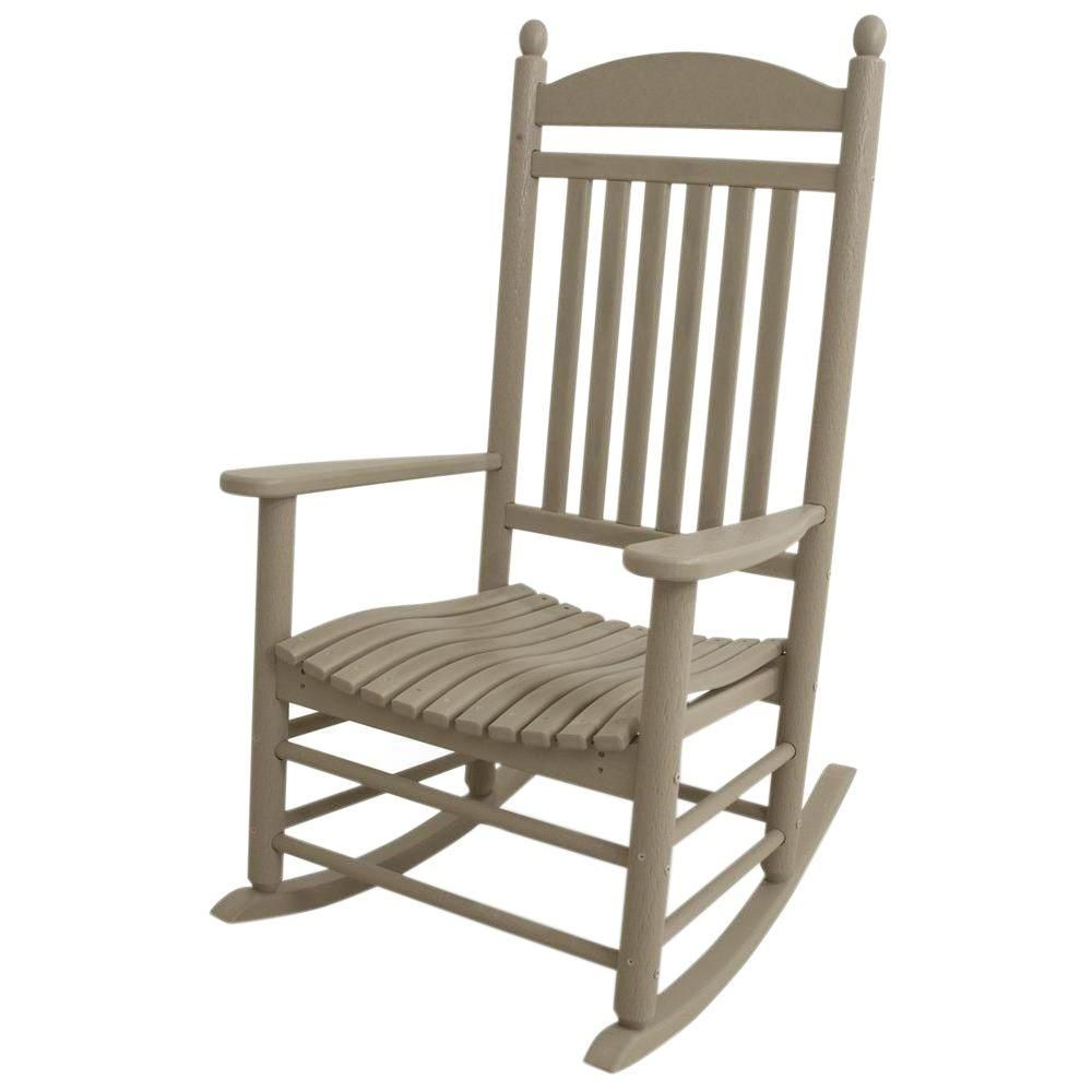 Polywood Jefferson Sand Patio Rocker Outdoor Rocking Chairs Patio Rocking Chairs Plastic Rocking Chair