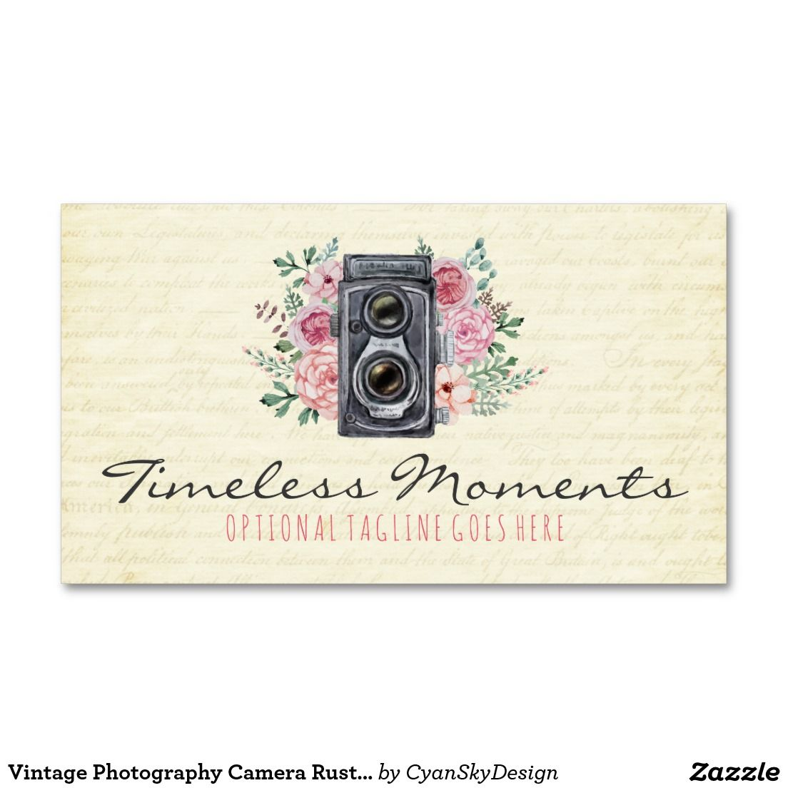 Vintage #Photography #Camera #Rustic #Floral #Logo #Business #Card ...