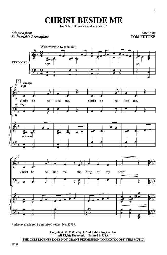 Christ Beside Me Satb By Tom Fettke Christ Choral Sheet Music Church Music