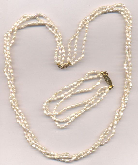 88cf48a0a3d7c REDUCED...Vintage 14K Gold Clasp...3 Strand Freshwater Rice Pearl ...