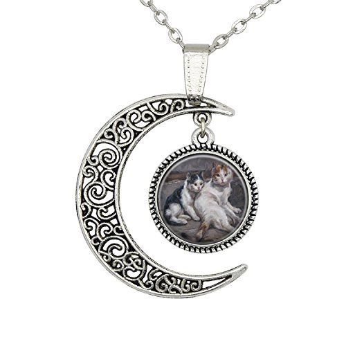 Moon Black and White Cat Necklace Kitty Design Art Pendant Christmas Friendship Gift Handmade http://www.amazon.com/dp/B018H3M76Q/ref=cm_sw_r_pi_dp_6aaJwb10T0H79