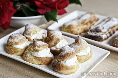 Profiteroles o pasta choux rellenos de crema pastelera - Profiteroles salados rellenos ...