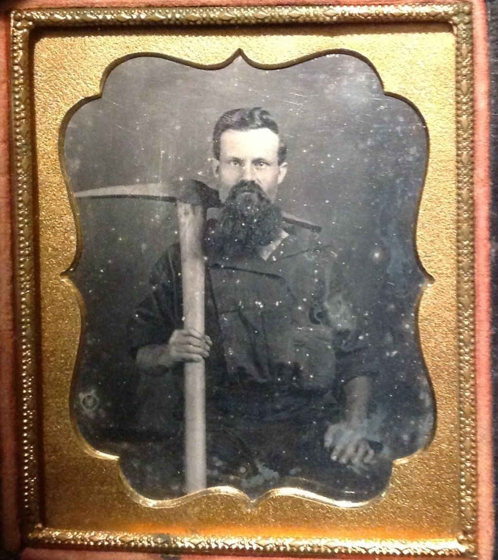 1/6 PLATE DAGUERREOTYPE OF A CALIFORNIA GOLD RUSH MINER WITH HUGE PICK SOME RUBS | eBay