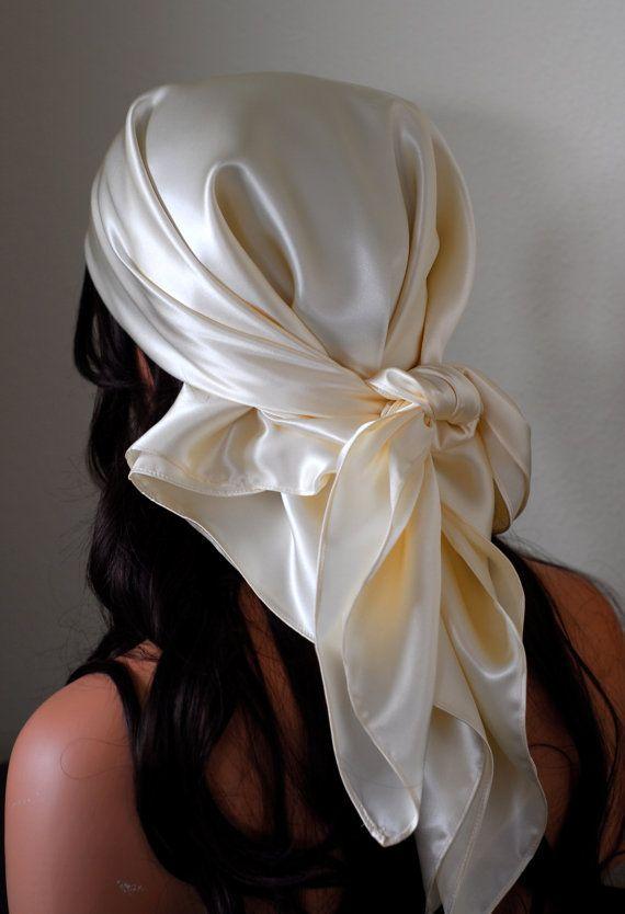 Silk Charmeuse Scarf Sleep Or Bandana Scarf Sizes Ivory