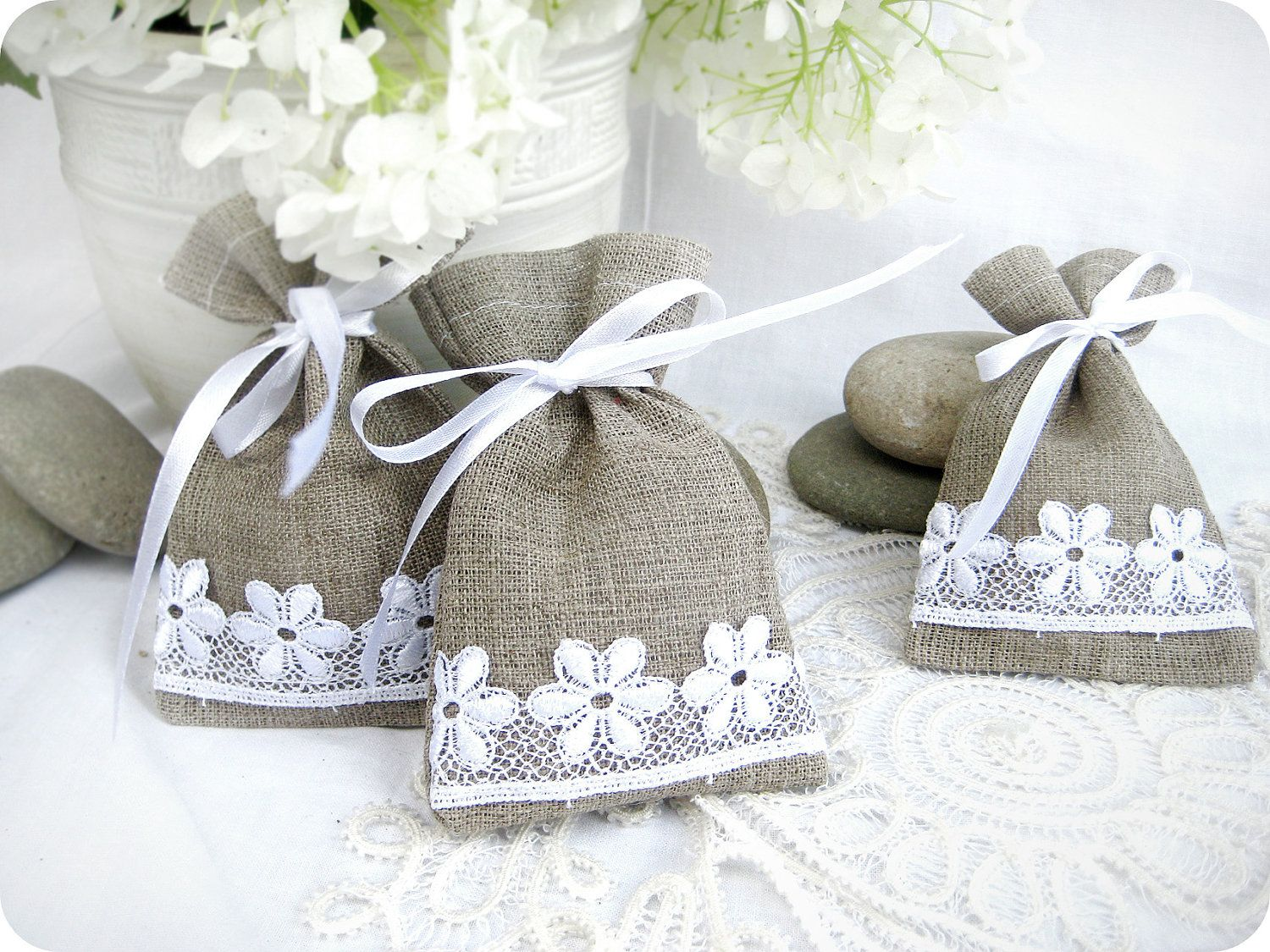 Wedding favor bags - Set of 10- Natural Rustic Linen Wedding Favor ...