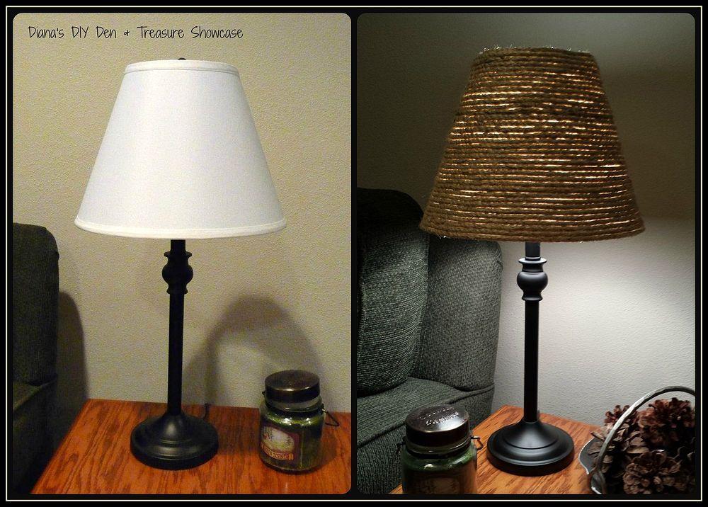 Sisal Rope Lamp Shade Makeover Lampshade Makeover Rope Lamp