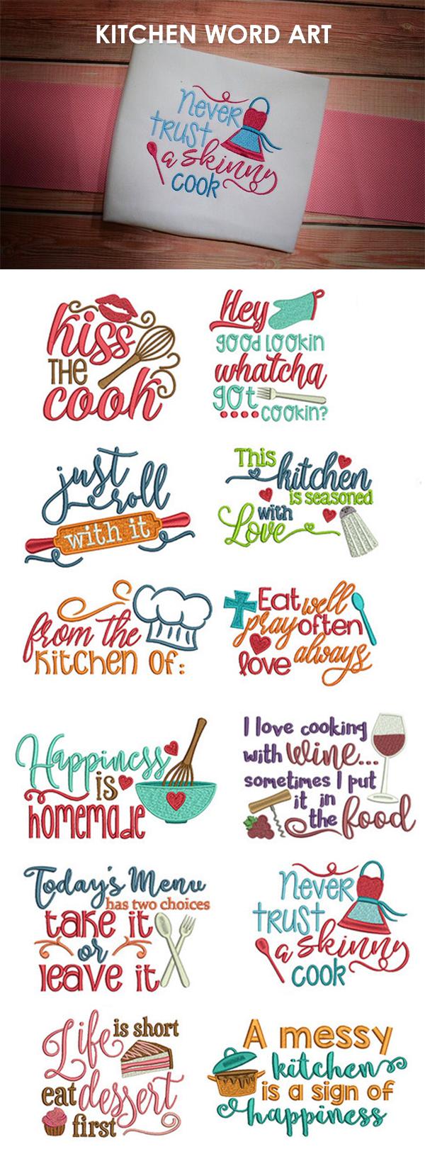 Our Kitchen Word Art design set includes 12 super cute ...
