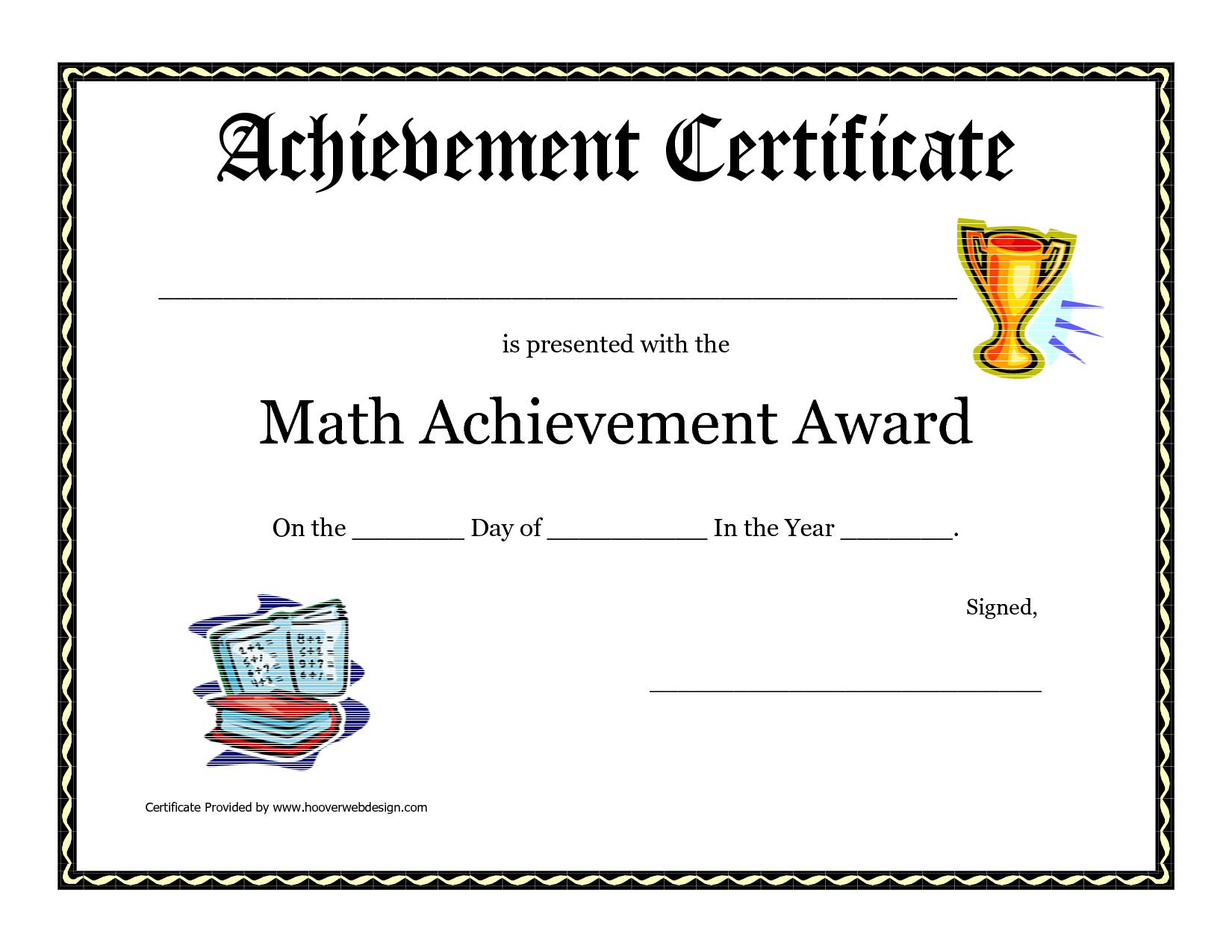 Math Achievement Award Printable Certificate