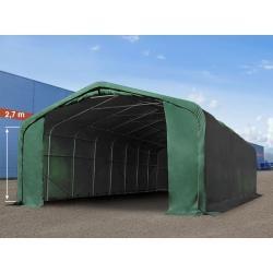 Photo of Garage sous tente 6×12 m avec portail 4,1×2,9 m, Pvc ignifuge 720 g / m² vert foncé   avec statique (béton