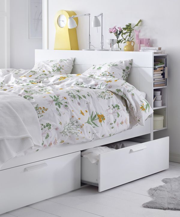 Brimnes Bed Frame With Storage Headboard White Lonset Queen