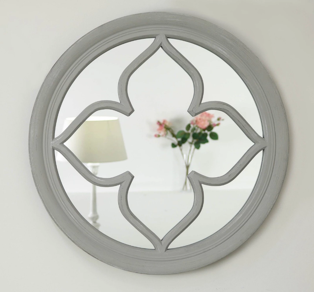 Vintage Grey Shabby Chic Round Mirror 24 X 24 Pergomas William Wood Mirrors Mirror Grey Framed Mirrors Window Mirror