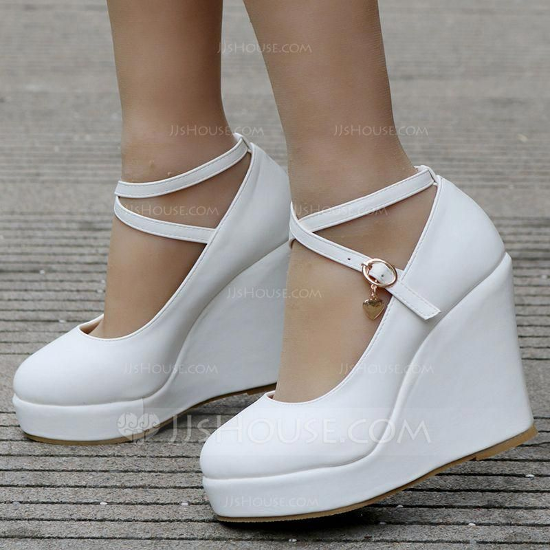 a31d3b815f1 Women s Leatherette Wedge Heel Closed Toe Platform Pumps Wedges With Buckle  (047144248) - Wedding