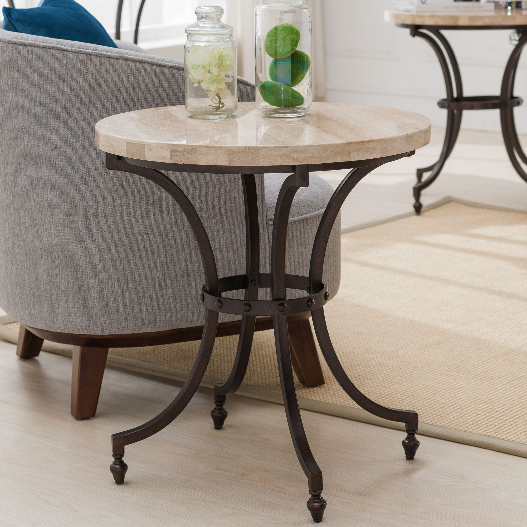 KD Furnishings Round Travertine Stone Top Side Table with Rubbed Bronze Metal Base