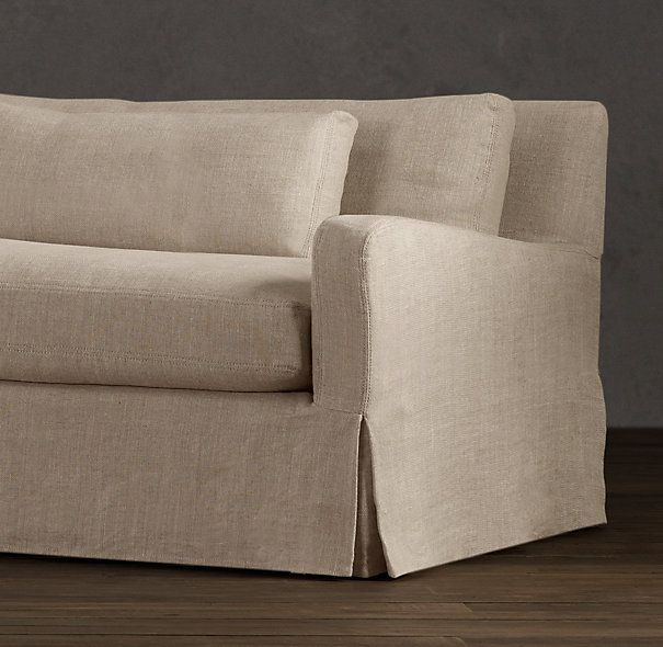 7 39 Belgian Slope Arm Slipcovered Sofa Sale In Belgian Linen Sand Color Down Stuff Classic