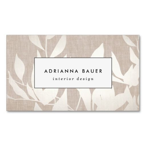 Chic modern silver leaves nature tan linen look business card card chic modern silver leaves nature tan linen look business card double sided reheart Choice Image