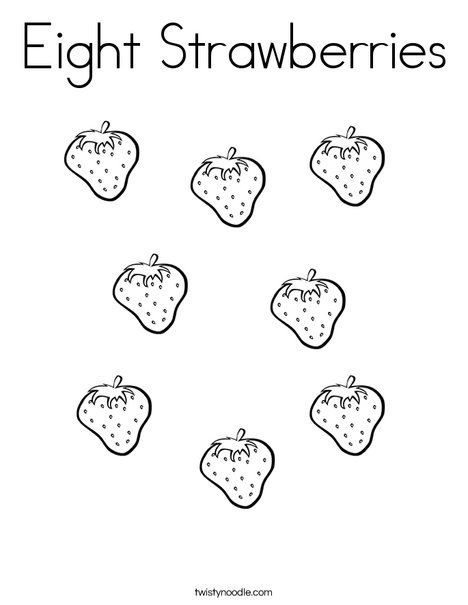 Eight Strawberries Coloring Page - Twisty Noodle ...