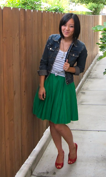 I love the green skirt Audrey from Putting Me Together is wearing!