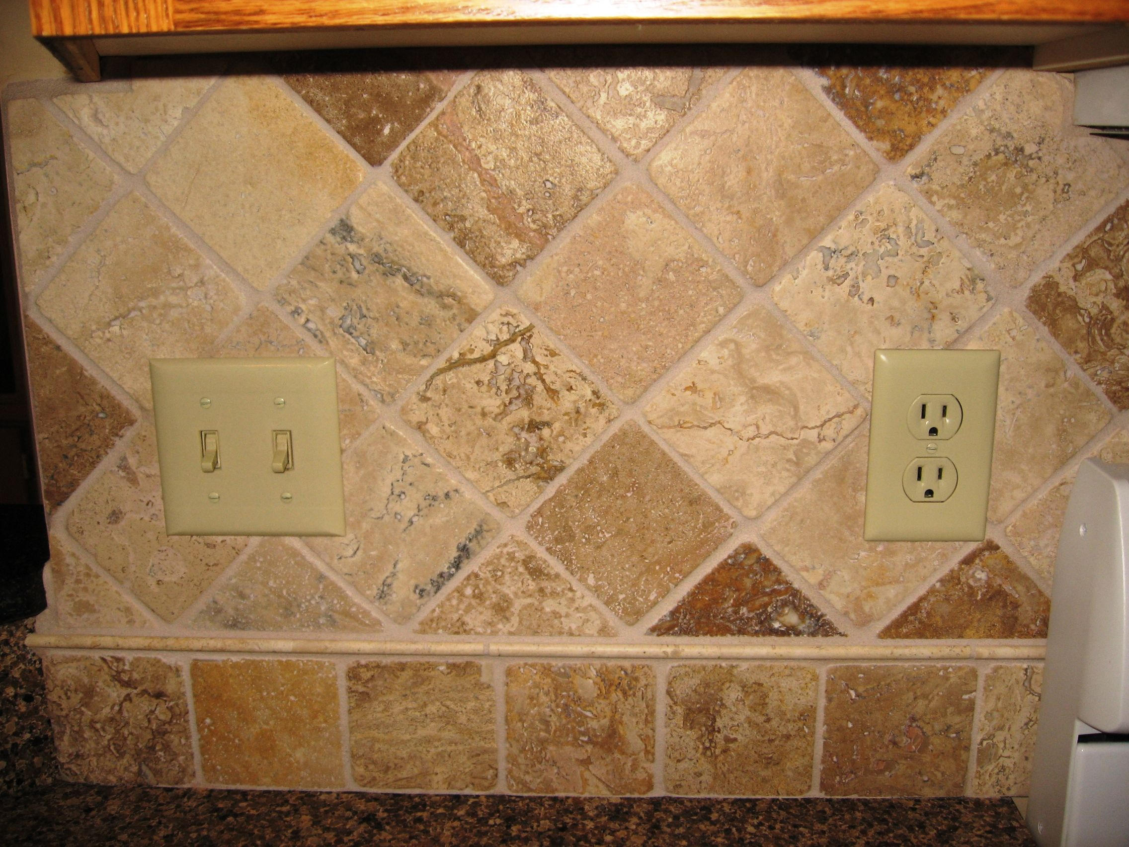 Sandstone tile backsplash stone tile backsplash diamond for Kitchen backsplash tile patterns