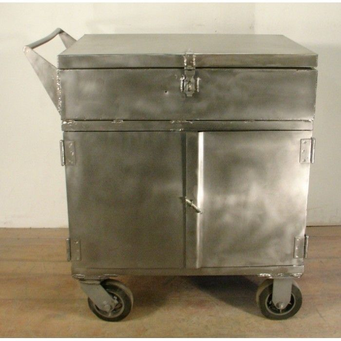Antiques Wheeled Metal Storage Cabinet
