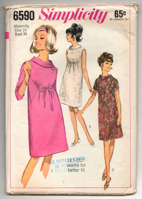 1960\'s Simplicity One-Piece Maternity Dress with Tie Waist - Bust 34 ...