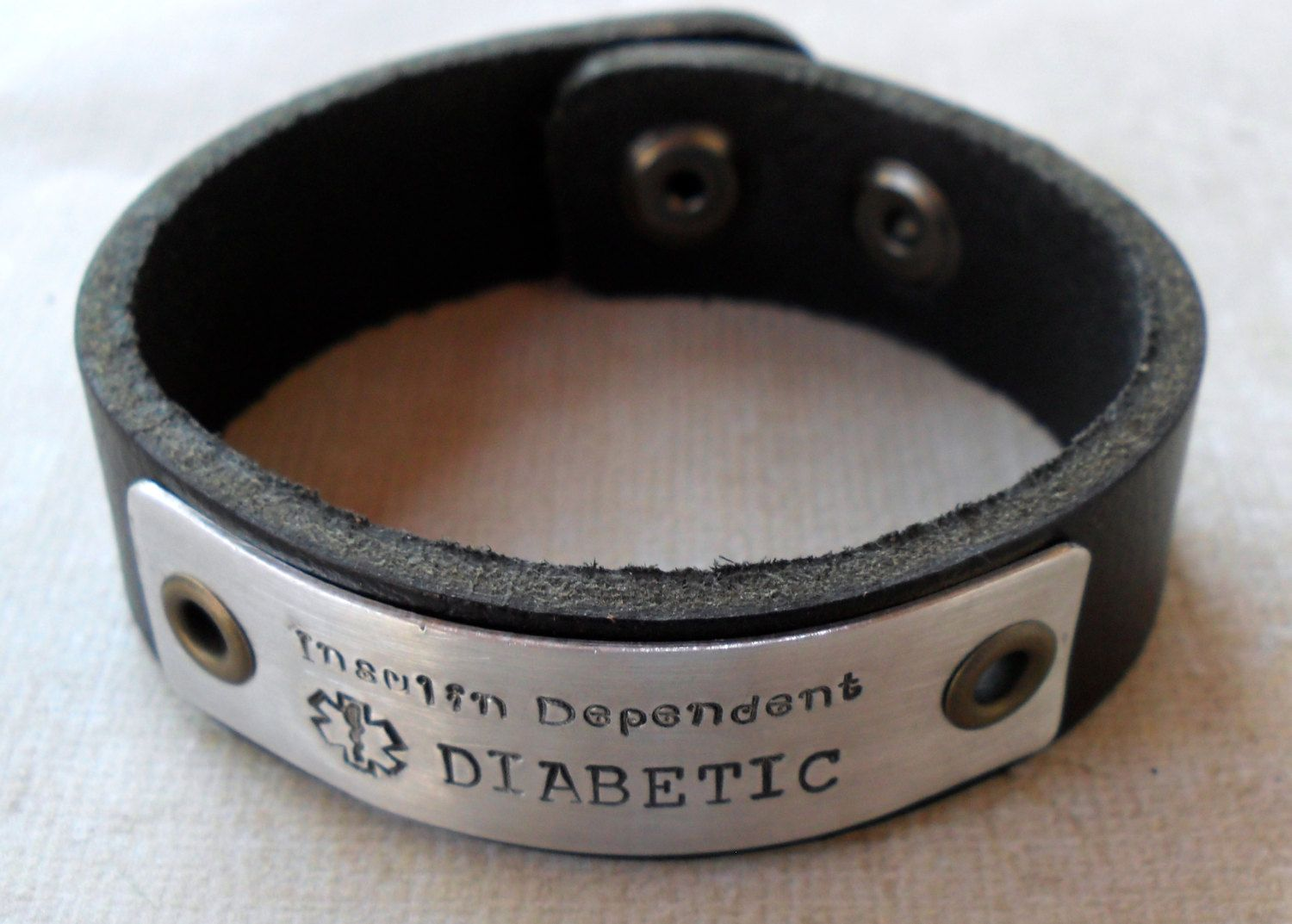 Leather Medical Alert Bracelet Diabetic By Medicaljewelry 36 00