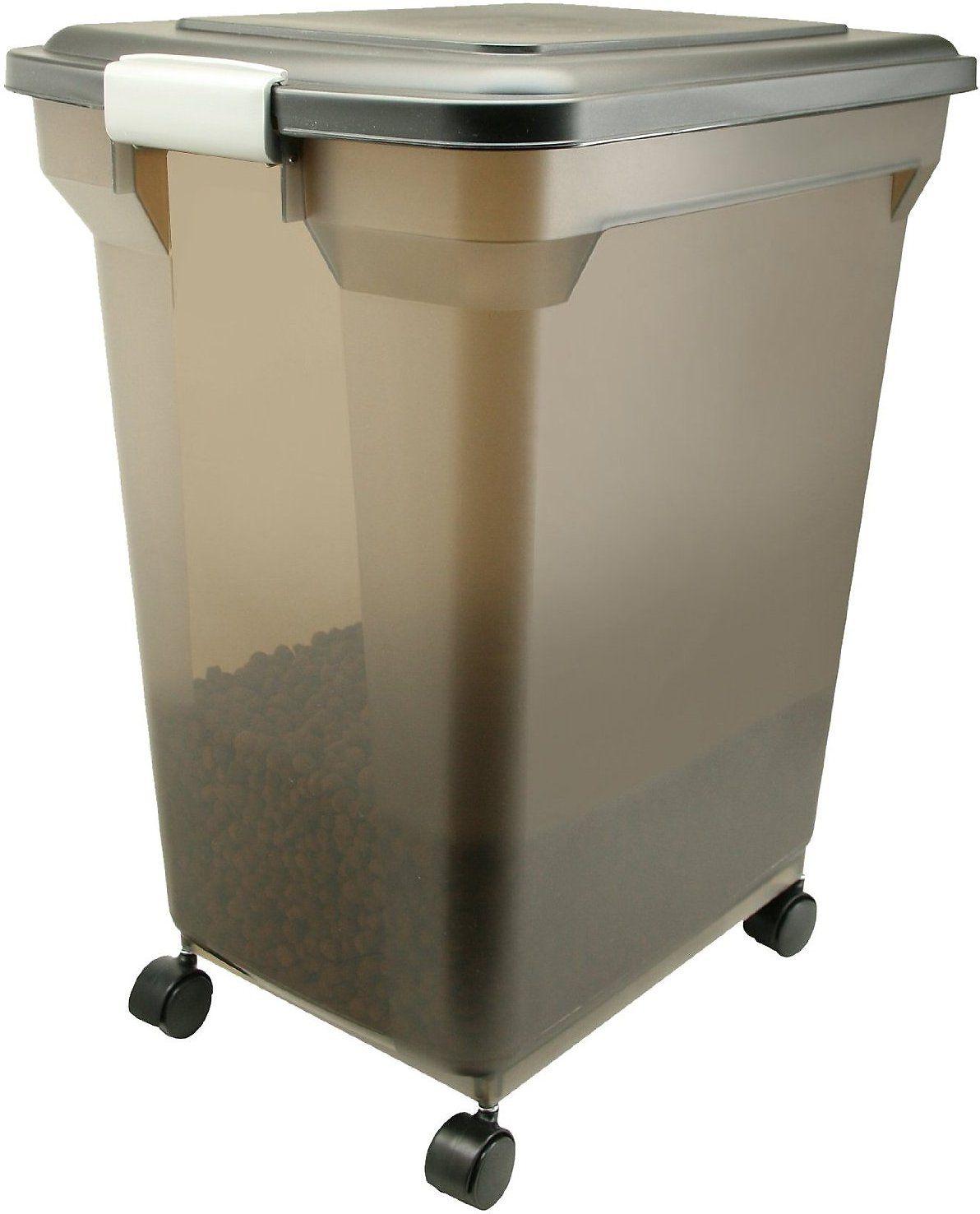Iris Airtight Pet Food Storage Container Smoke Black 55 Qt