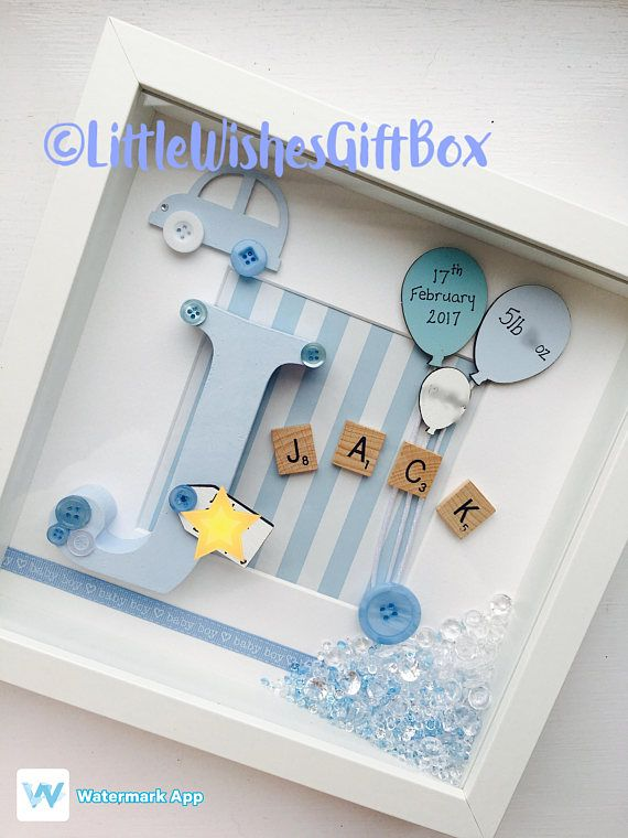 Baby Bedroom In A Box Special: Baby Boy Birth / Child Initial Box Frame, New Baby
