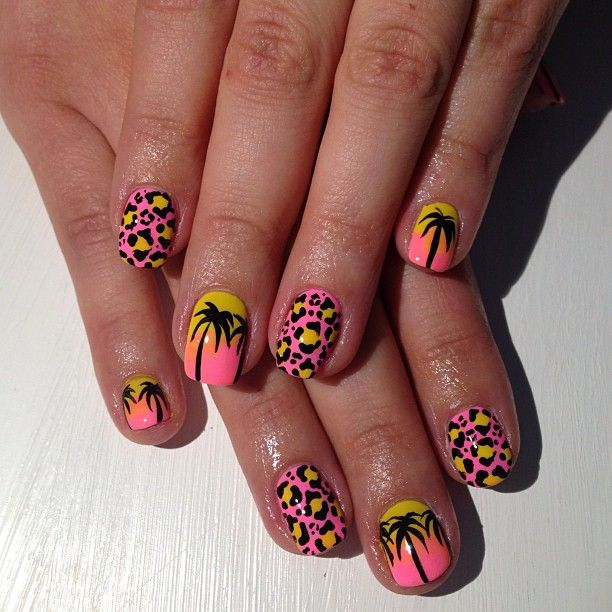 Bright Pink Yellow Gradient Ombre Animal Print Leopard Spots