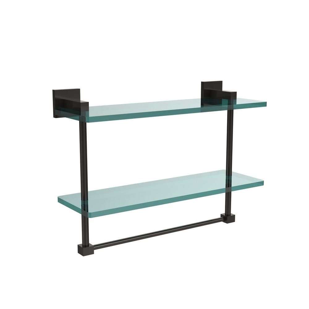 Allied Brass Montero 16 In L X 11 3 4 In H X 5 3 4 In W 2 Tier Clear Glass Bathroom Shelf With Towel Bar In Antique Brass Mt 2 16tb Abr The Home Depot Glass Bathroom