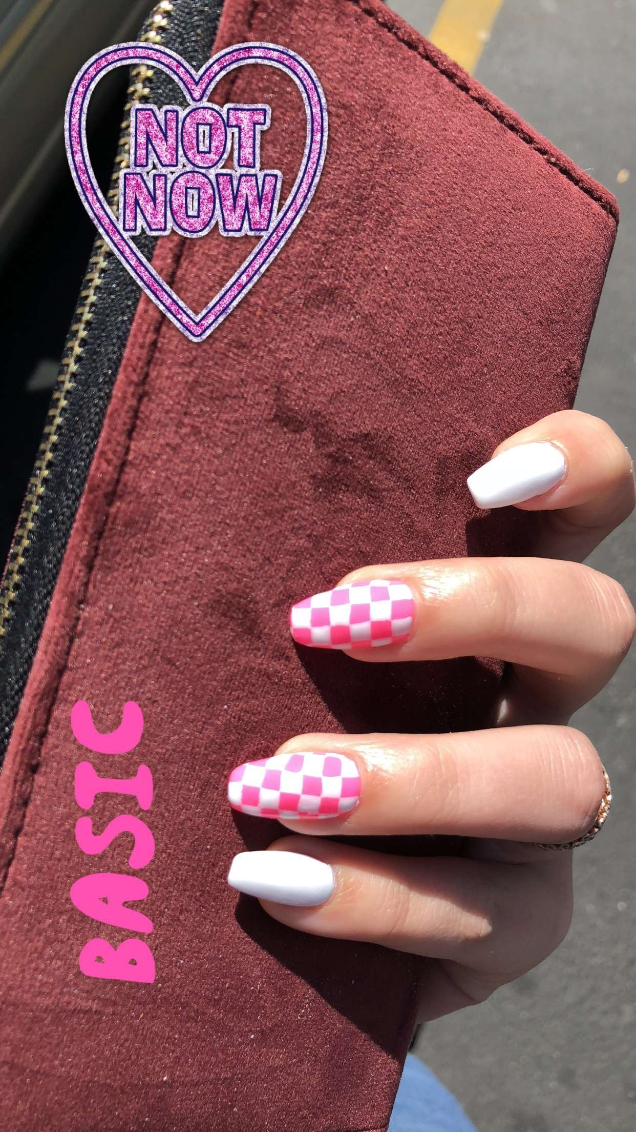 Checkered Checkered Nails Acrylic Nails Fire Nails