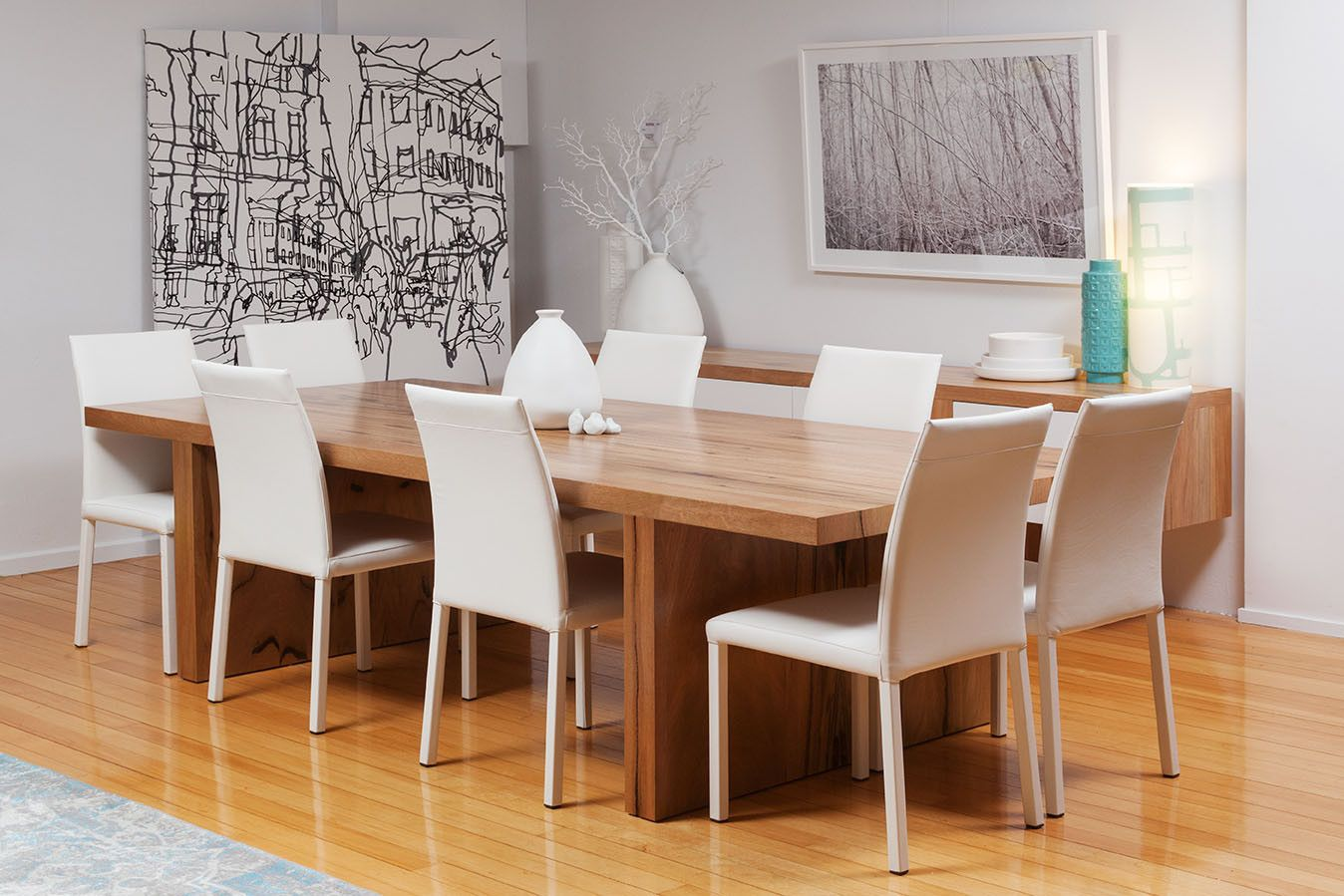 The Edge Solid Marri Dining Table And Italian White Leather Chairs