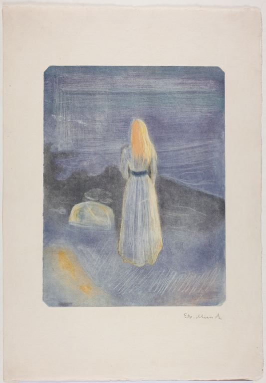 Edvard Munch  (Norwegian, 1863-1944): Young Woman on the Beach, 1896, Burnished aquatint and drypoint in purple, blue, grey and yellow, inked à la poupée, on cream laid Arches paper, 287 x 218 mm..