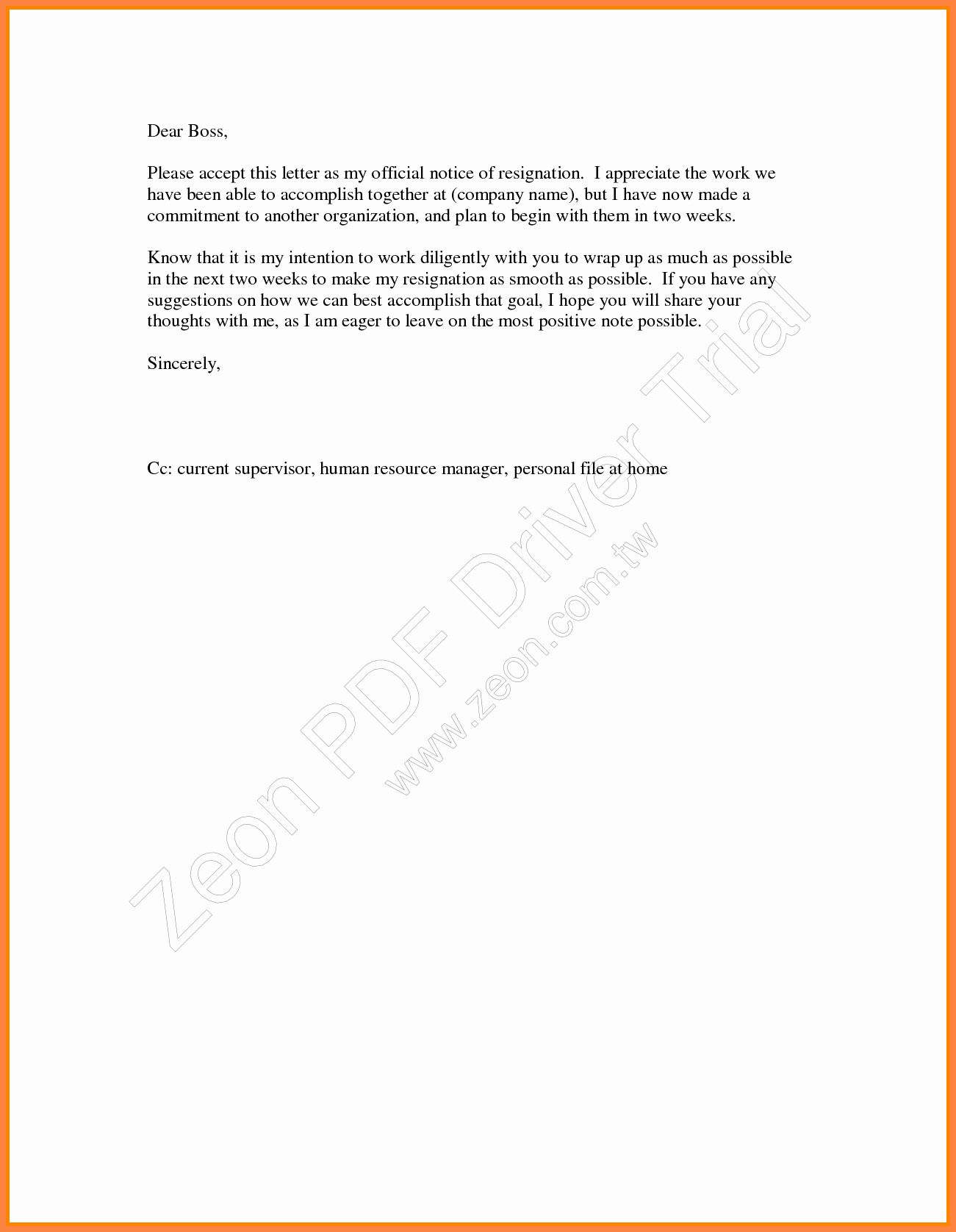 40 2 Week Notice Template Word in 2020 Business template