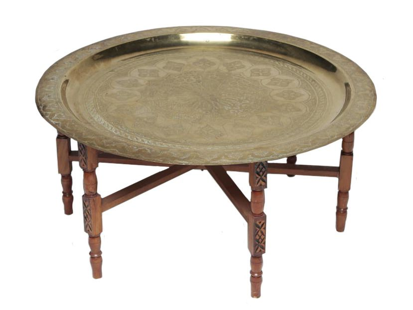 This Hand Hammered Brass Tray With A Handcarved Folding Base Was