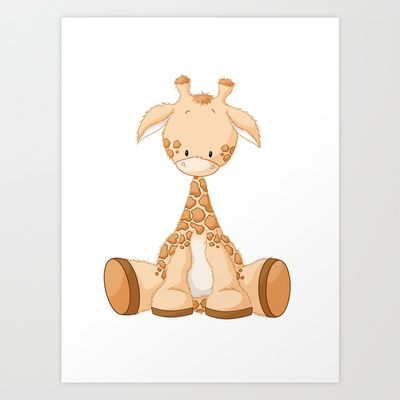 Cute giraffe    Art Print by Lee Holland - $18.72