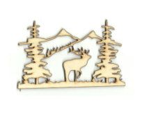 Moose Scene Lodge & Cabin Decor Laser Cut Outs Unfinished Wood Shapes  Variety of Sizes Craft Supply DIY MUS74