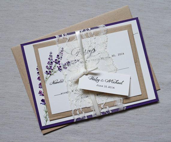 Hochzeitseinladung Lavendel Purple Mitspitze Aus Craft Papier