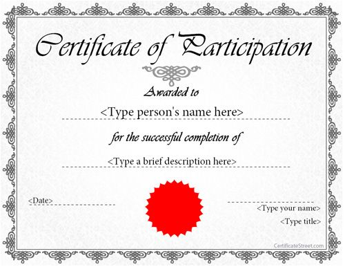 Special Certificate Award Certificate of Participation – Certificate of Participation Template
