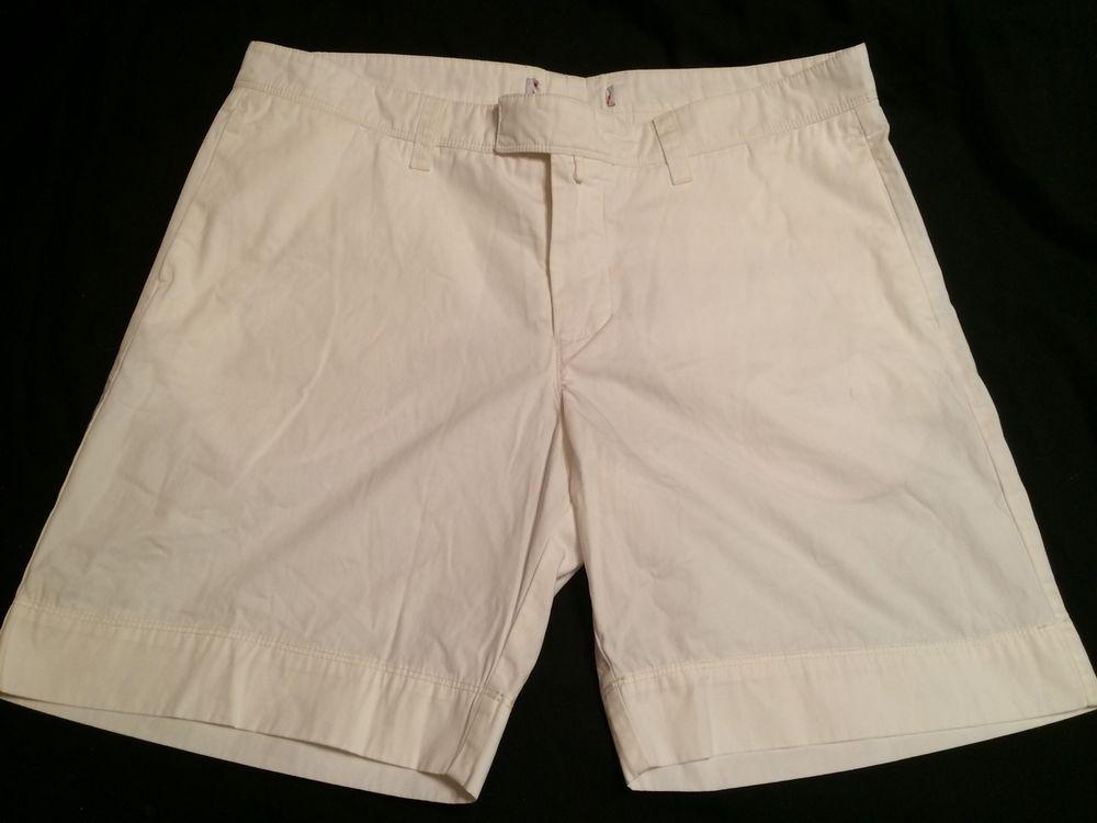 Orlebar Brown Size 38 WHITE SHORTS 8 inch Inseam SHORT Designer HTF…