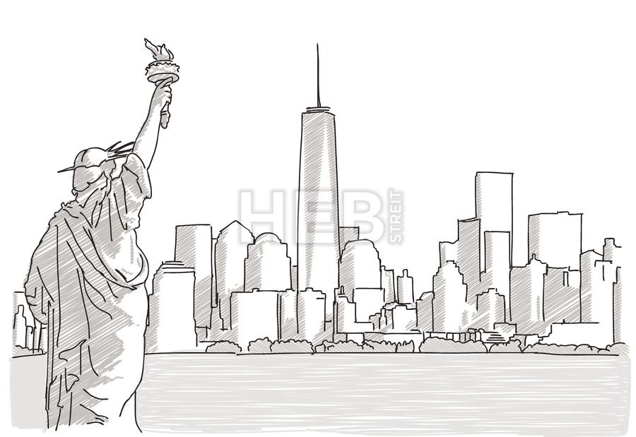 Time Square New York City Hand Drawn Vector Outline Sketch Skyline Drawing City Drawing Nyc Skyline Art